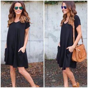 8a971638cce Dresses   Skirts - Preppy little black mini dress casual boho v neck